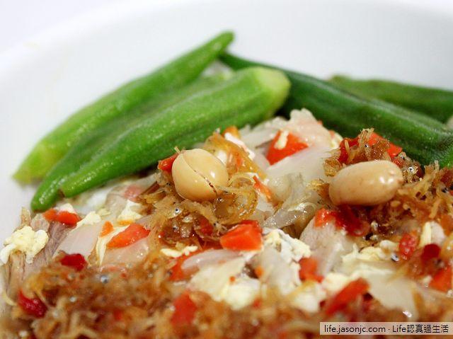 淡水魚藏吻魚干貝醬,搭秋葵燴飯