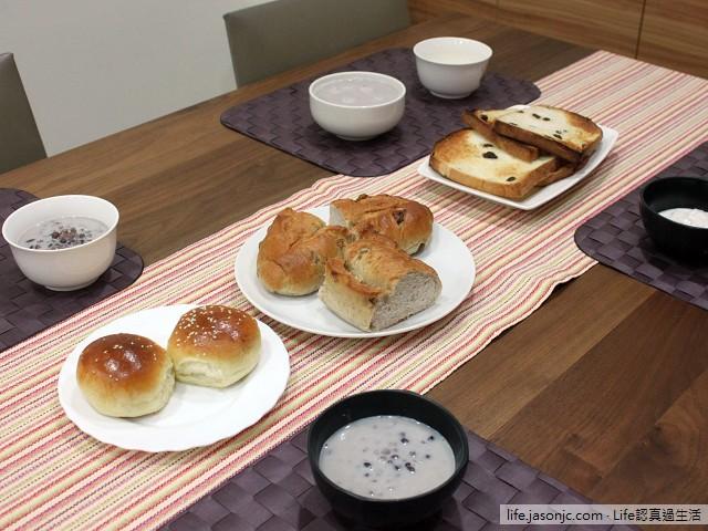 高纖核果麵包、葡萄乾吐司、南瓜餐包 搭 牛奶大麥仁紅豆湯、蒟蒻橘子優格